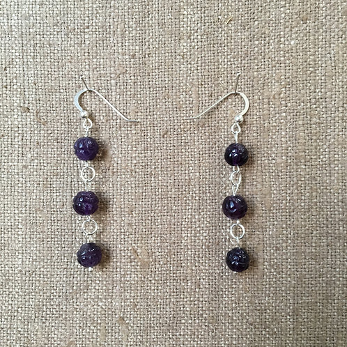 Carved Lotus Amethysts with Sterling Silver Earrings