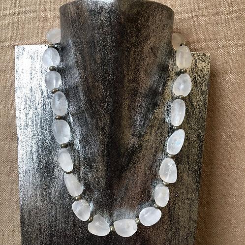 Matte quartz and pyrite necklace