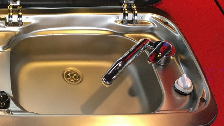 Campervan sink & pipe fitted from