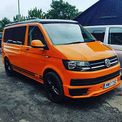 VW campervan T6 with freshly colour coded Sportline kit
