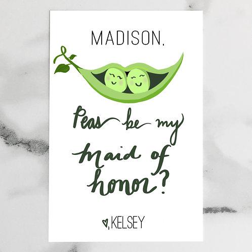 Peas be my Bridesmaid card