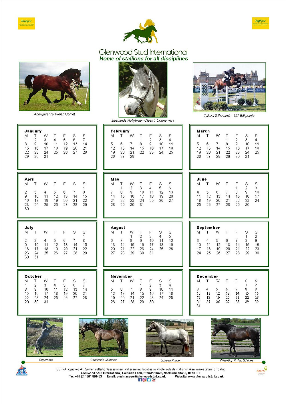 Glenwood Stud 2018 calendar can be downloaded from our 'Downloadable Forms' page