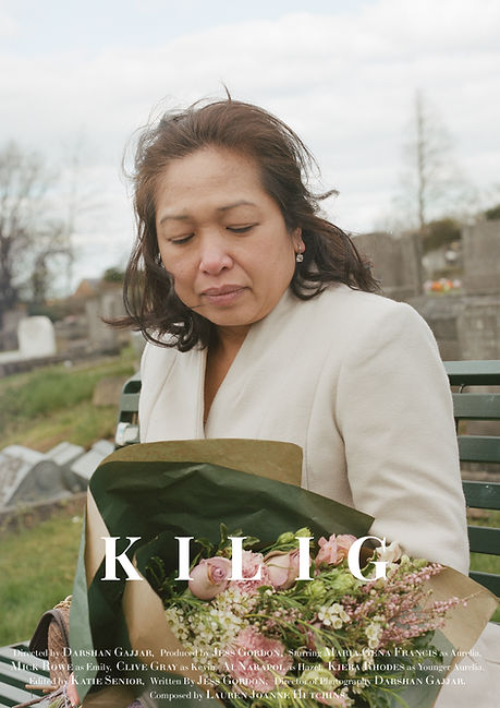 Poster for the short film Kilig - the image is of a woman looking down at the bouquet of flowers that she is holding.