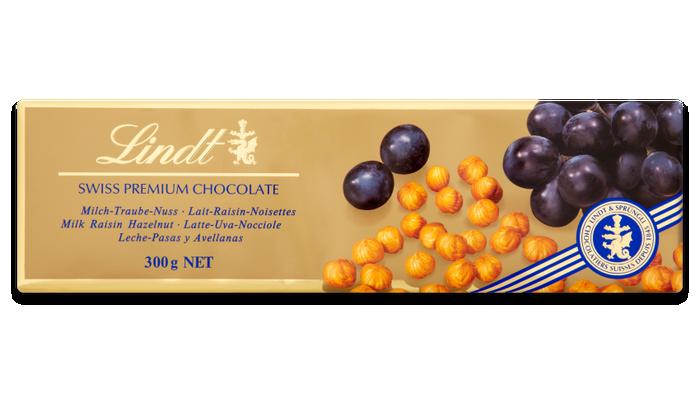 Lindt Gold Bar Hazelnut & Raisin Milk Chocolate 300g
