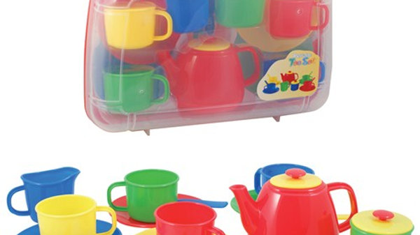 Peterkin Toy Play Tea Set Primary Colours in carry case
