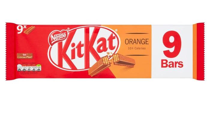 Nestle Kit Kat 2 Finger Multipack Orange 9 Bars x 20.7g