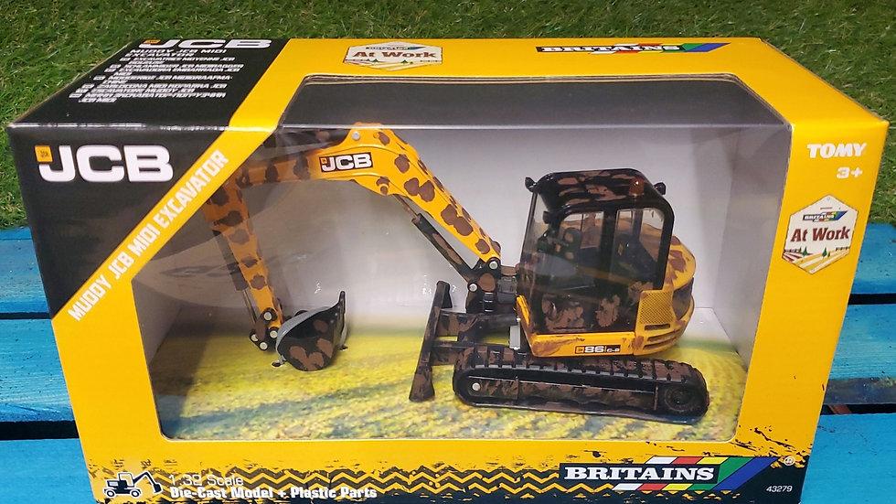 Tomy Britains Muddy JCB Midi Excavator 1:32 scale