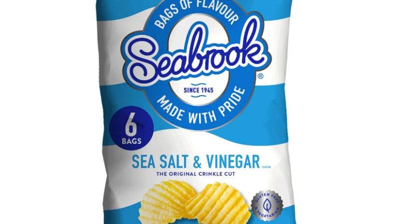 Seabrook Sea Salt & Vinegar Flavour Crinkle Cut Crisps Multipack 6x25g