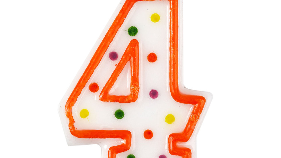 Polka Dot Birthday Cake Candle Number 4 7.5cm