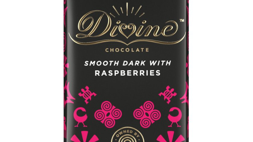 Divine Chocolate Dark with Raspberries 90g