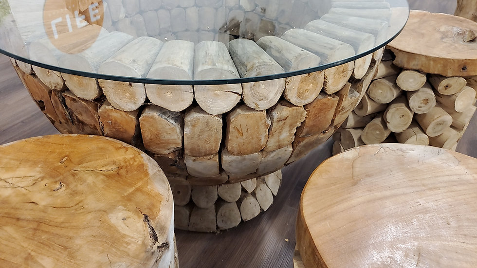 Round log table with glass top & 4 matching log stools