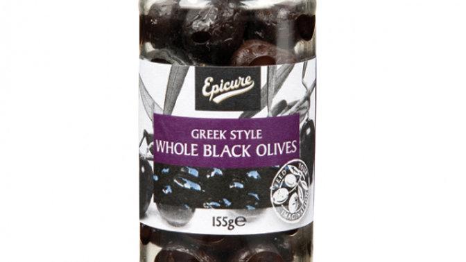 Epicure Greek Style Whole Black Olives 155g