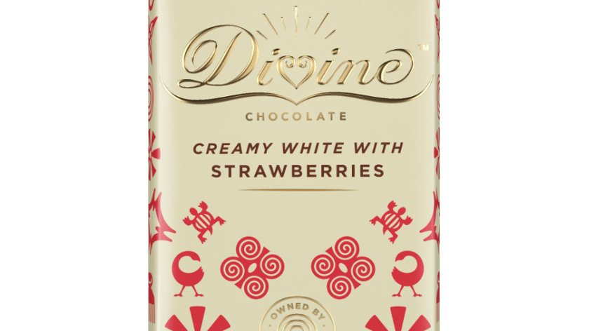 Divine Chocolate White with Strawberries 90g