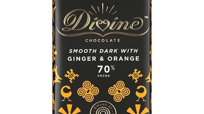 Divine Chocolate Dark with Ginger & Orange 90g