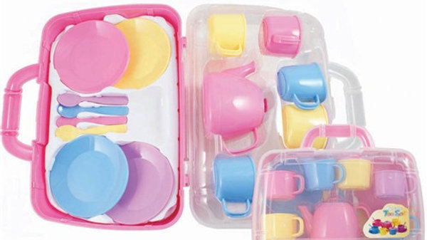 Peterkin Toy Play Tea Set Pastel Colours in carry case