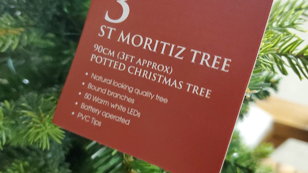 Noma 3ft St Moritz artificial pre-lit potted Christmas Tree