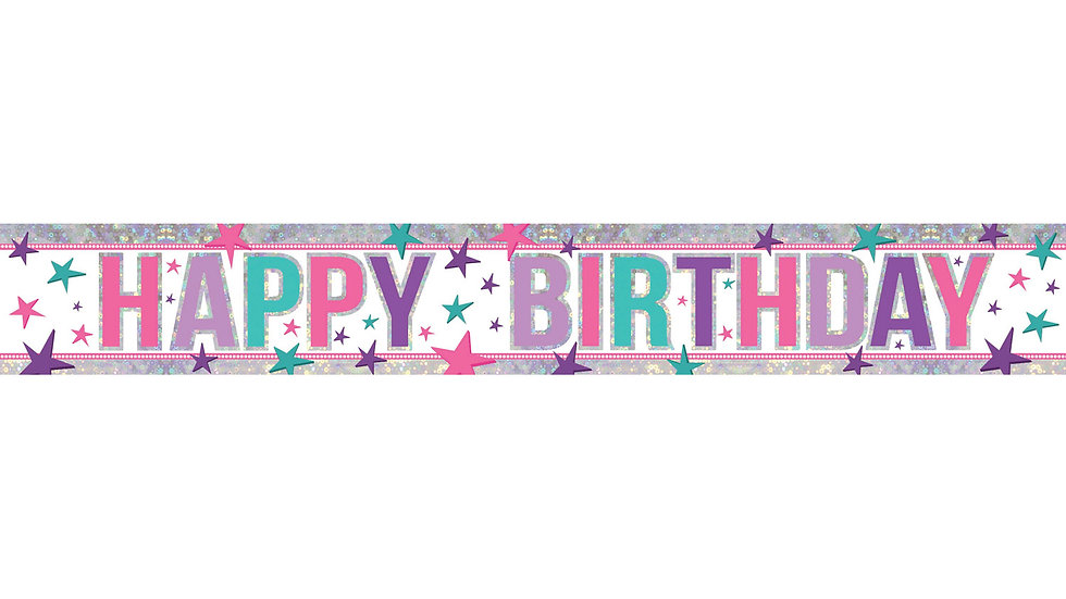 Pink Happy Birthday Holographic Foil Banners 2.7m