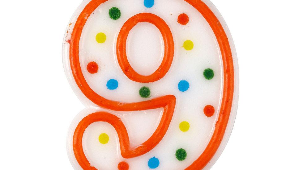 Polka Dot Birthday Cake Candle Number 9 7.5cm