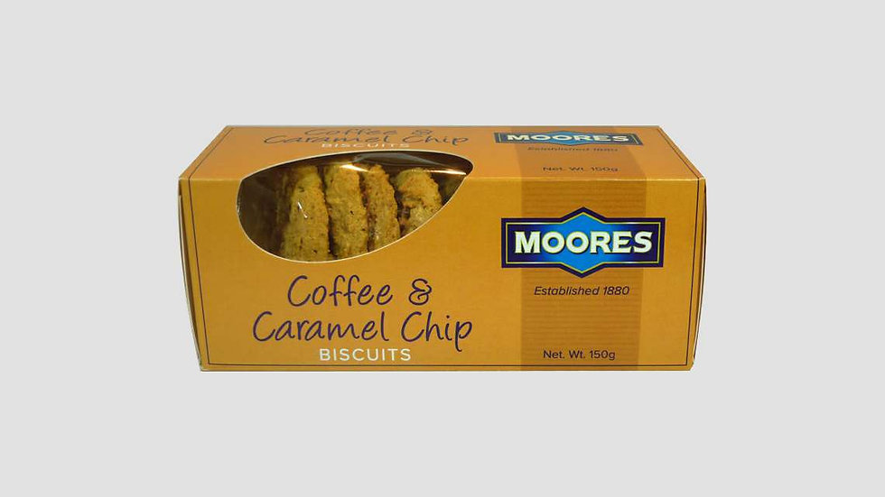 Moores Coffee & Caramel Chip Biscuits 150g