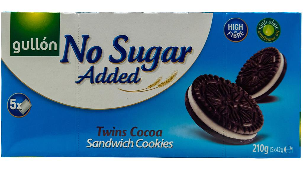 Gullon No Sugar Added Twins Cocoa Sandwich Cookies