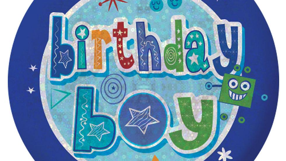 Happy Birthday Boy Holographic Badges 5.5cm
