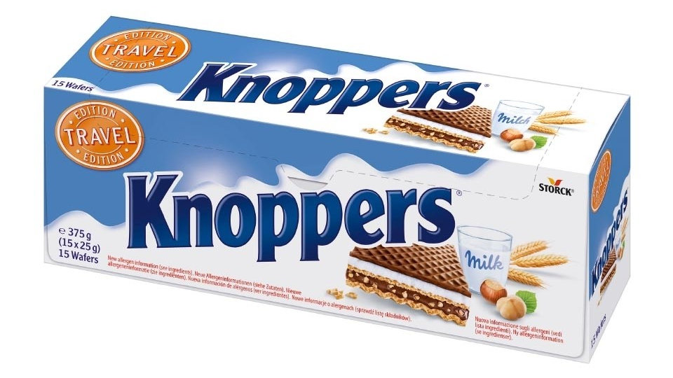 Knoppers Hazelnut Wafers (Travel Edition) 15x25g pack 375g