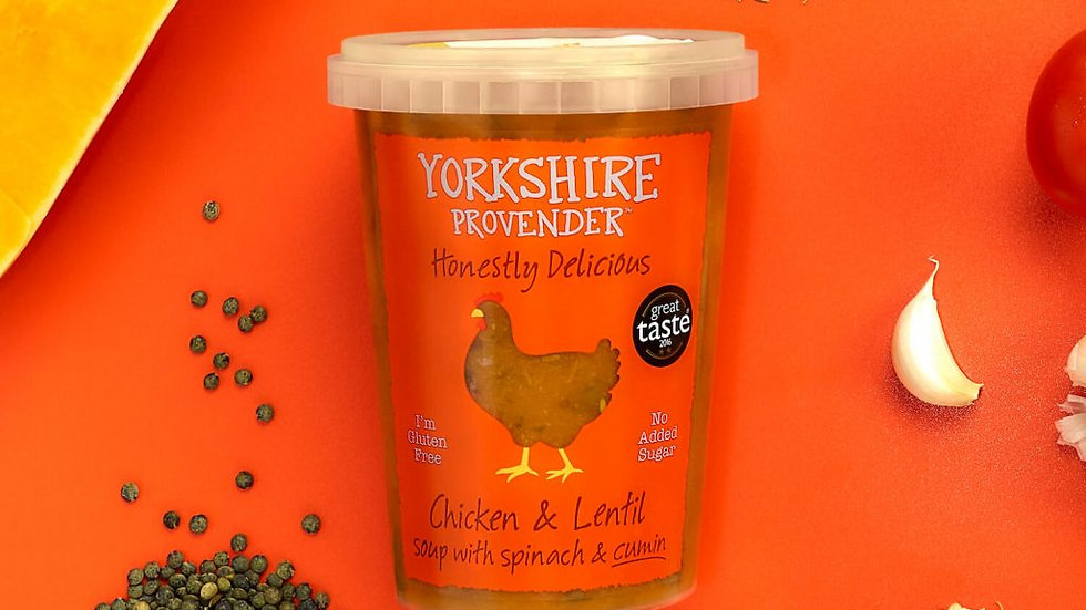 Yorkshire Provender Fresh Soup Chicken & Lentil with Spinach and Cumin 600g