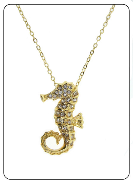 Seahorse pendant home luxury cz and more by lm one tone gold white czech crystals seahorse pendant aloadofball Gallery