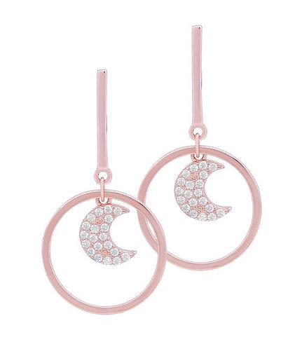 Ohrhänger Silber vergoldet rosé Mond Zirkonia