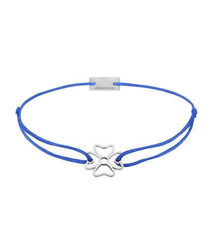 Armband Textil Silber Kleeblatt