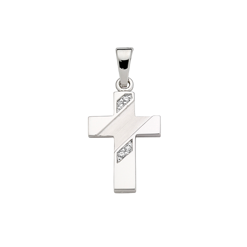 Kettenanhänger Silber Kreuz Zirkonia