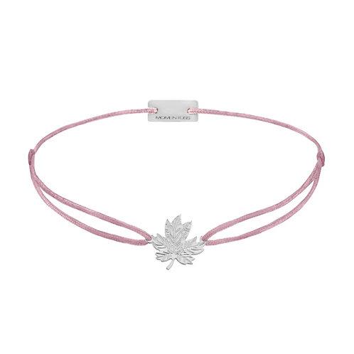 Armband Textil Silber Ahornblatt