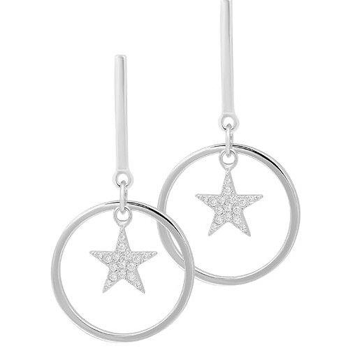 Ohrhänger Silber Stern Zirkonia