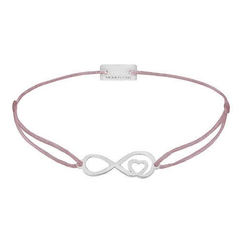 Armband Textil Silber Infinity-Herz