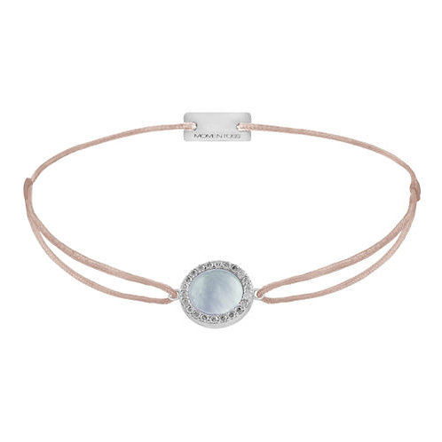 Armband Textil Silber Perlmutt Zirkonia