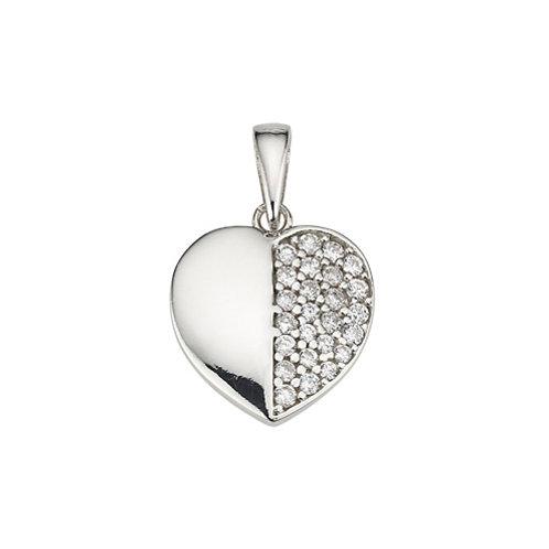 Kettenanhänger Silber Herz Zirkonia