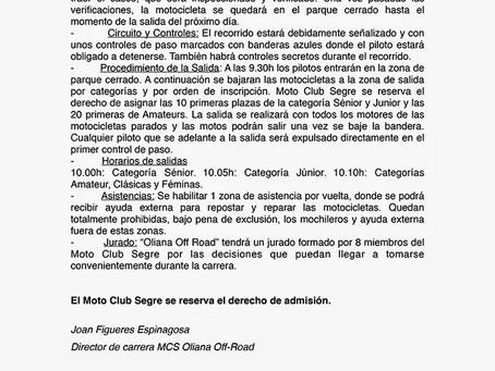 "Reglamento ""Oliana Offroad 2014"""