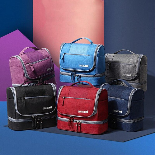 Double-Layer Cosmetic Digital Bag Zipper Make Up Holder Case Hangable