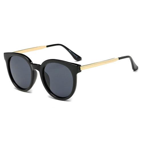 Women's Retro Mirrored Lens Horned Rim Round Sunglasses