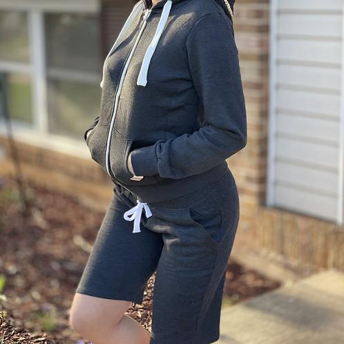 Charcoal Zip Up Hoodie and Fleece Short Set