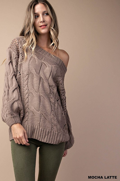 Mocha Latte  Cable Knit Sweater