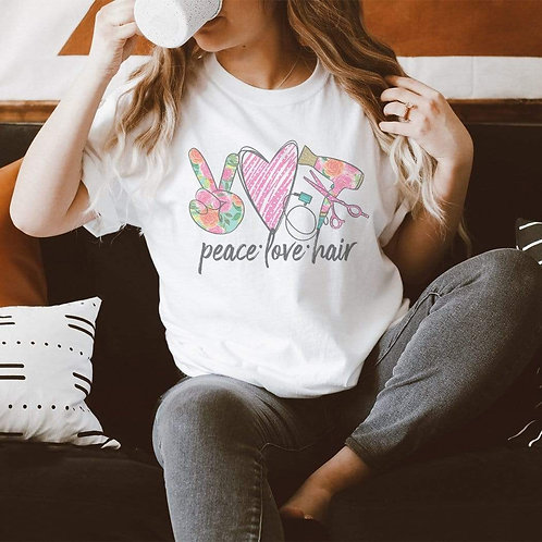 Peace Love Hair Graphic T-Shirt