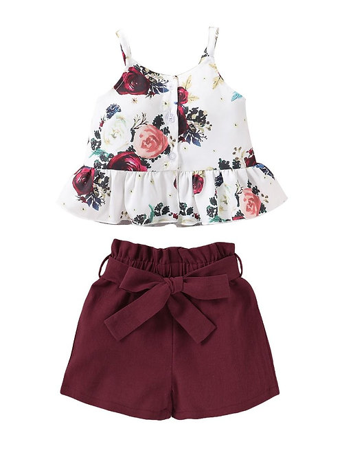 2-Piece Toddler Girl Flower Ruffle Suspender Top and Belted Red Shorts Set