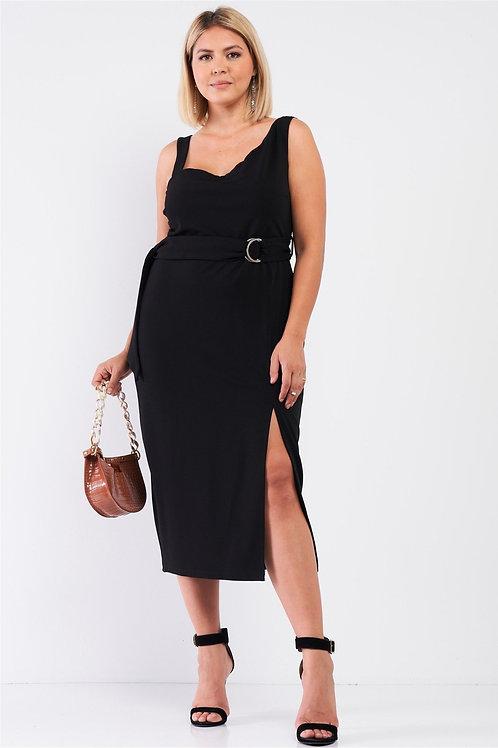 Black Plus Sleeveless Front Slit Detail Belted Midi Dress