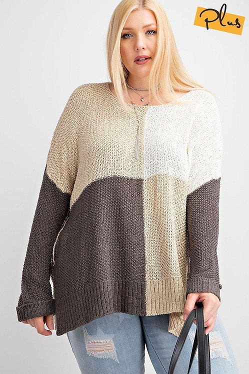 Plus Color Block Knitted Sweater Top