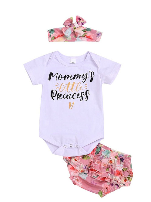 3-Piece Mommy's Little Princess Print Bodysuit, Frilled Shorts and Headband