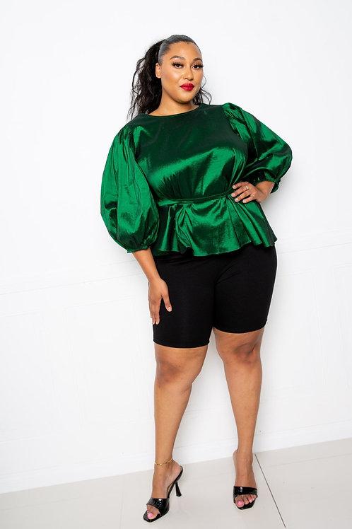 Green Plus Size Women's Top With Waist Tie