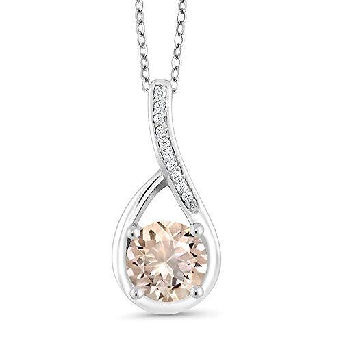 2.00 CTTW Morganite Princess Cut Infinity Necklace in 14K White Gold