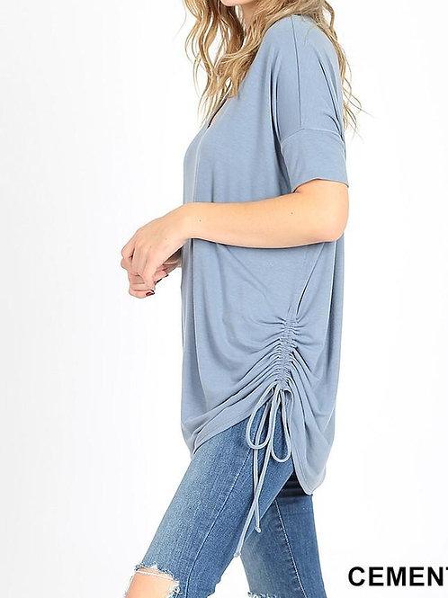 Plus Premium Short Sleeve V-Neck Ruched Top