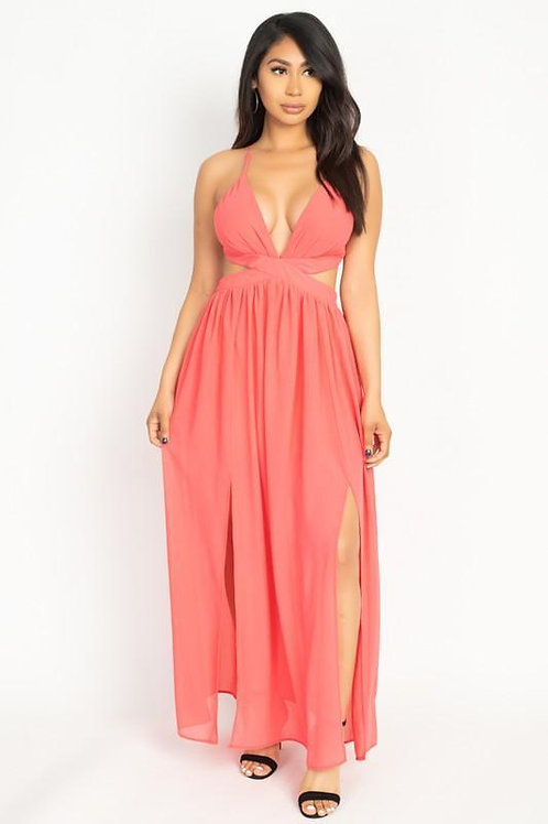 High Slit Chiffon Maxi Dress  ID:JVD50069
